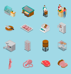 isometric butchery icons collection vector image