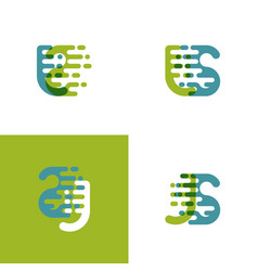 Js letters logo with accent speed in light green vector