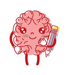 Kawaii happy brain with pencil tool vector