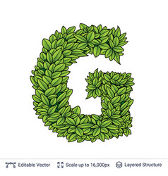 Letter g symbol of green leaves vector