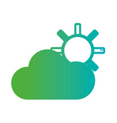 line natural sun with cloud weather vector image
