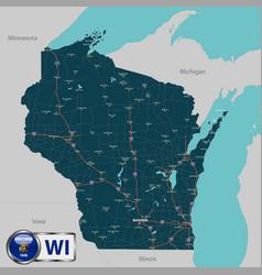 map state wisconsin usa vector image