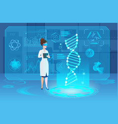 Medical hologram dna laboratory interior vector