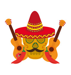 mexican skull with hat mustache and guitars vector image