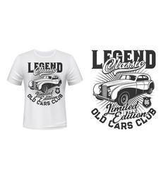 old retro cars club t-shirt mockup vector image