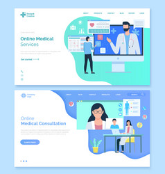 Online medical consultation doctors aid website vector