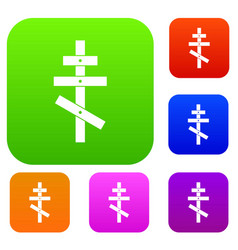 orthodox cross set collection vector image