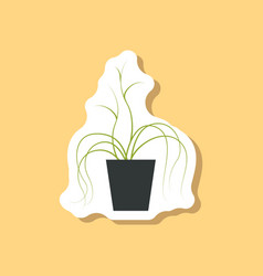 Paper sticker on stylish background plant in a pot vector