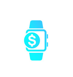 Payment with smart watch icon on white vector
