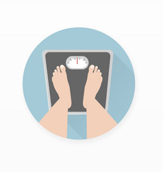 Person measuring weight on scale vector