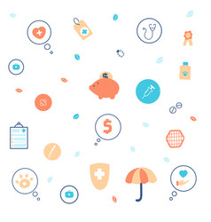 pets life insurance flat icons set vector image