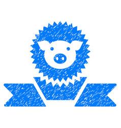 Pig reward ribbon icon grunge watermark vector