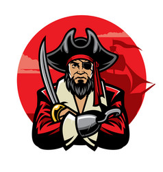 pirate with sword vector image