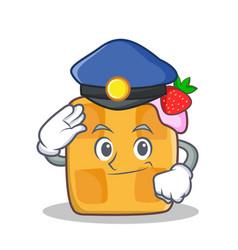 Police waffle character cartoon design vector