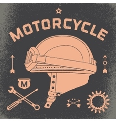 Poster of vintage race motorcycle helmet Retro vector