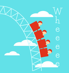 Poster with roller coaster vector