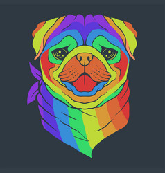 Pug dog head colorful vector