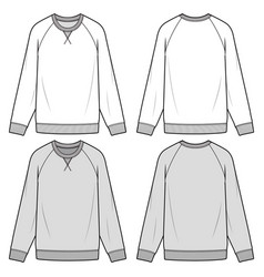 Raglan sweatshirts fashion flat sketch template vector