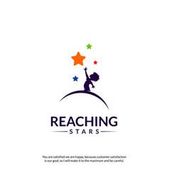 reaching stars logo design template dream star vector image