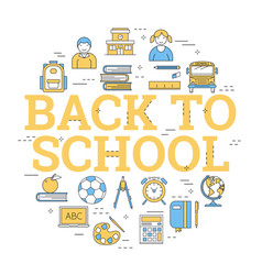 round concept with icons - back to school vector image