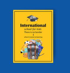 School poster design with mortar board cart globe vector