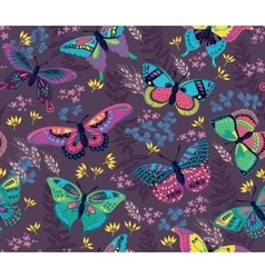 Seamless pattern with flying colorful butterflies vector