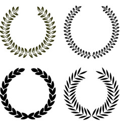 set of 4 isolated floral laurel and olive wreaths vector image