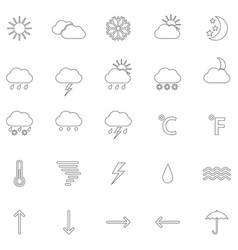 set of contours of weather icons vector image