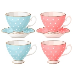 Set of teacups vector