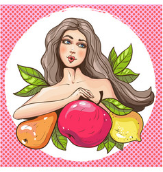 sexy pop art woman with fruits vector image