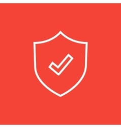Shield with check mark line icon vector image