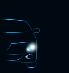 Silhouette of car with headlights in darkness vector image
