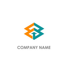 square arrow connect business logo vector image