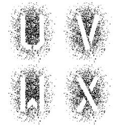 stencil angular spray font letters U V W X vector image