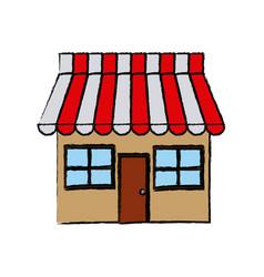 Store market shop exterior window door vector