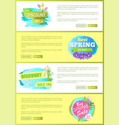Super spring big sale advertisement labels flowers vector