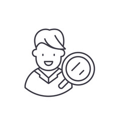 target audience research line icon concept target vector image