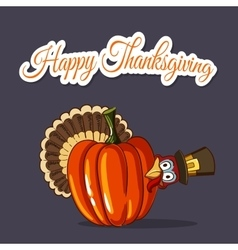Thanksgiving Turkey And Pumpkin vector image