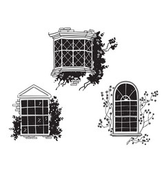 Traditional english victorian windows vector