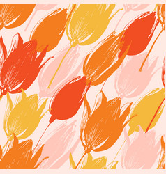 tulip flowers seamless pattern in light colors vector image