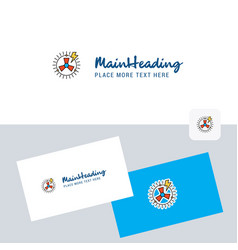 turbine logotype with business card template vector image