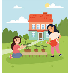 Two happy little girls are planting and watering vector