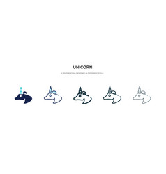 Unicorn icon in different style two colored and vector