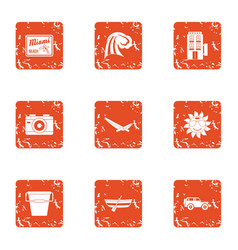 Vanquish icons set grunge style vector