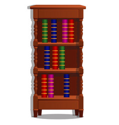 vintage bookcase filled with books library vector image