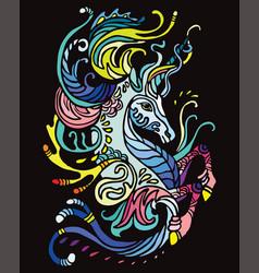 Water unicorn on black vector