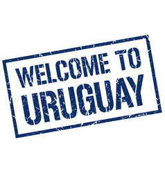 Welcome to uruguay stamp vector