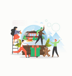 Winter tale happy people preparing for christmas vector