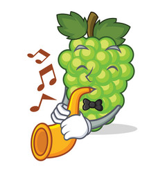 with trumpet green grapes mascot cartoon vector image