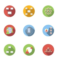 World internet icons set flat style vector